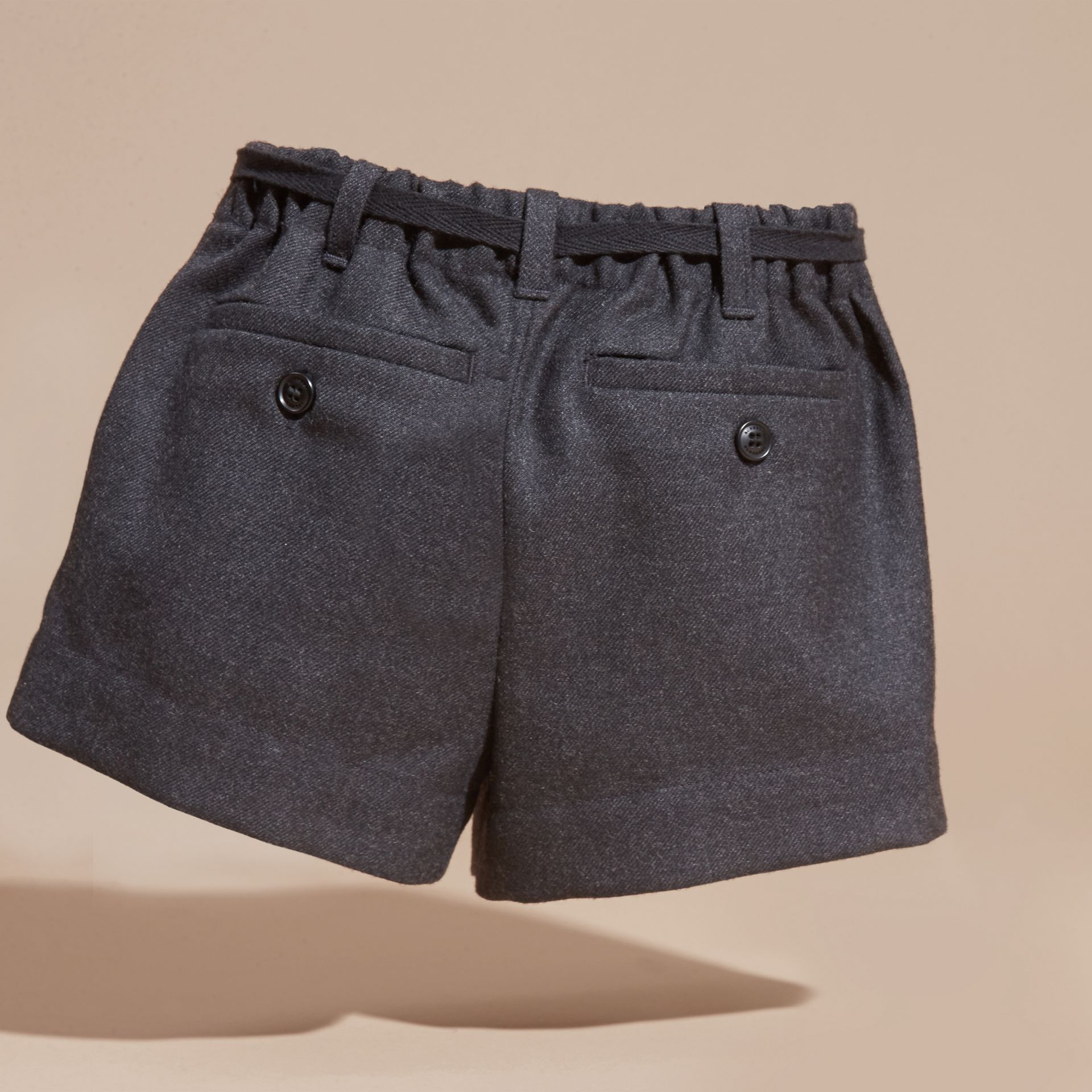 Charcoal melange Belted Wool Flannel Shorts - gallery image 4