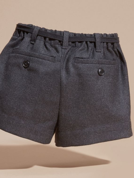 Charcoal melange Belted Wool Flannel Shorts - cell image 3