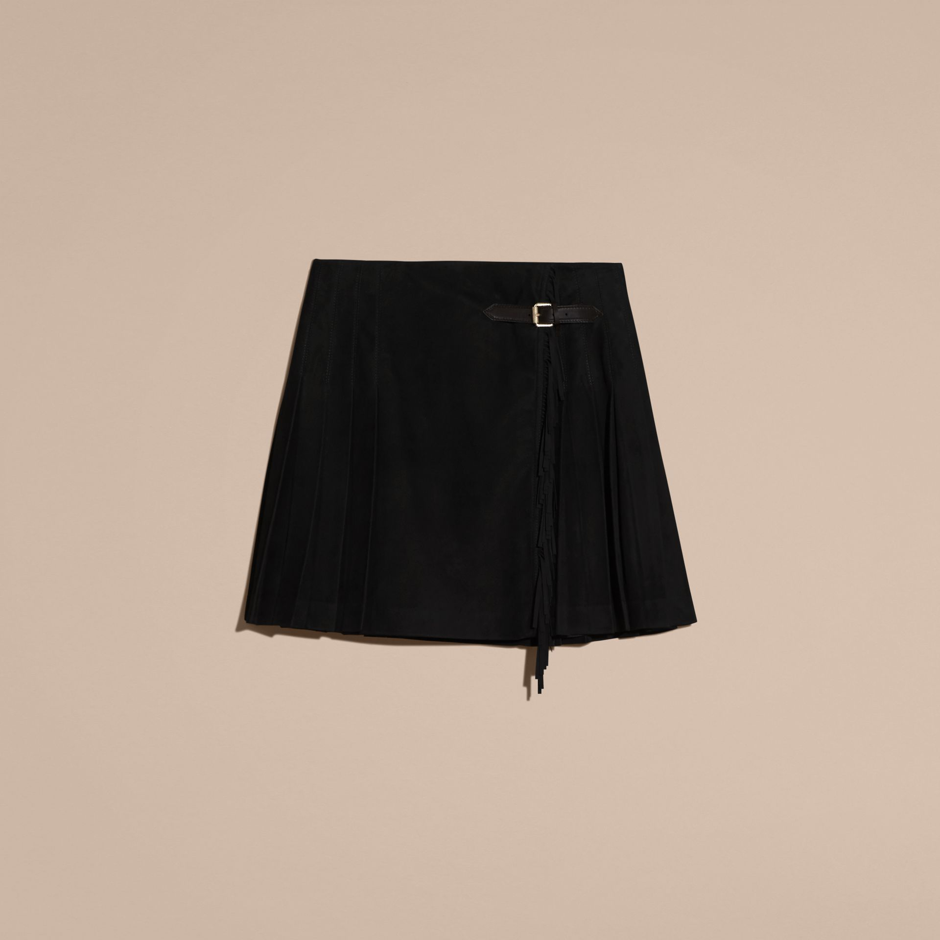 Black Fringed Suede Kilt - gallery image 4