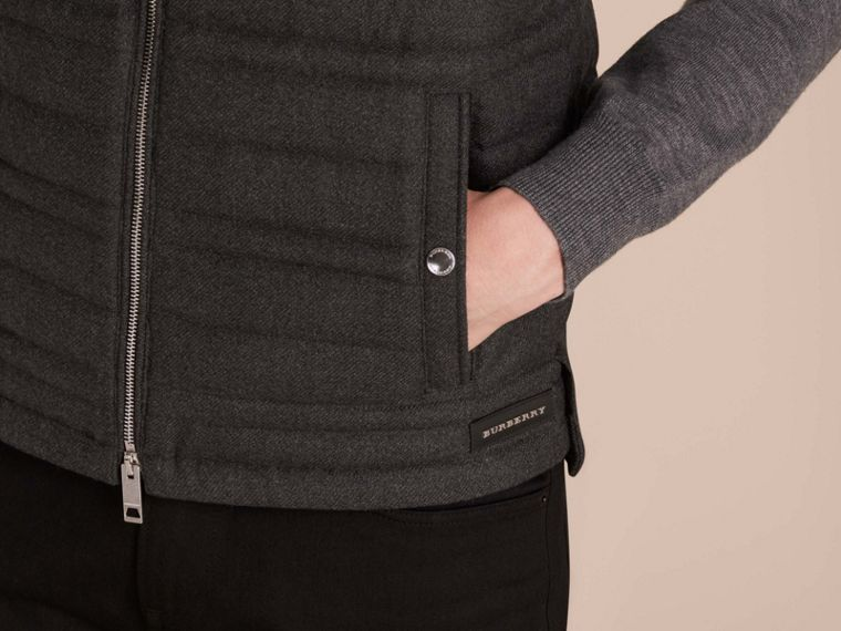 Dark grey melange Down-filled Wool Flannel Gilet - cell image 4