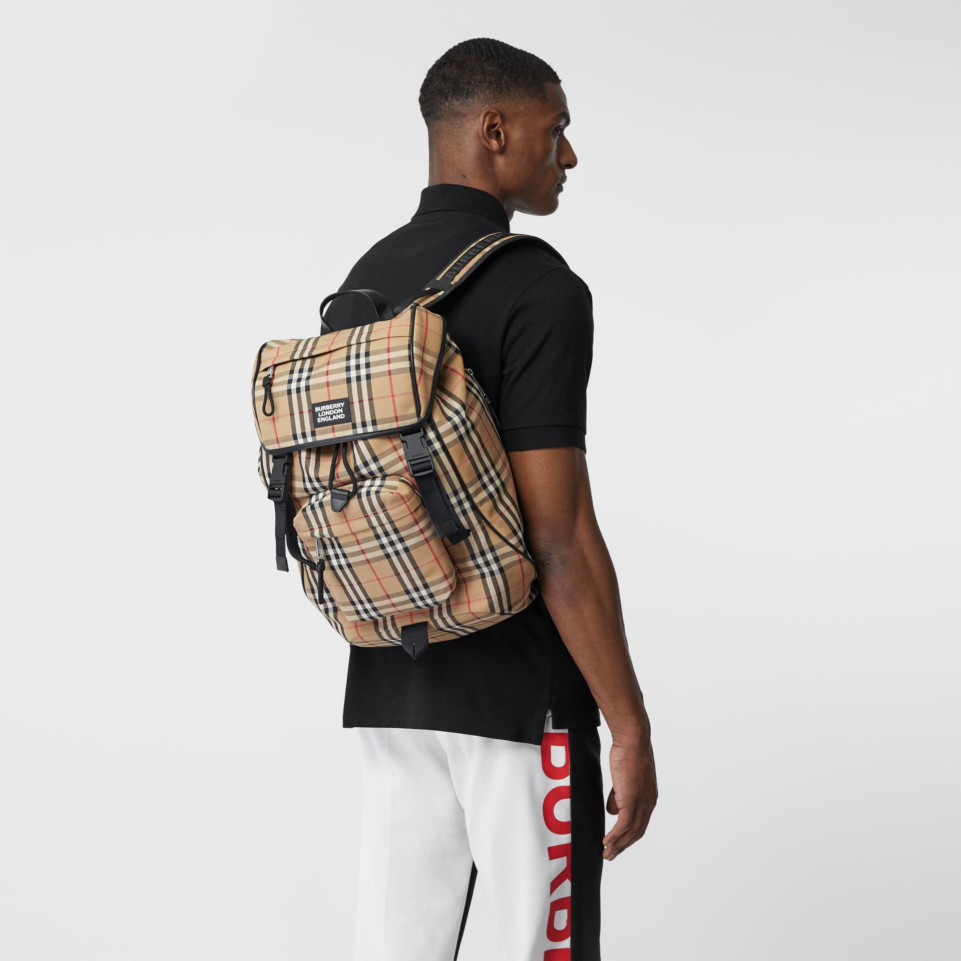 Logo Detail Vintage Check Backpack in Archive Beige | Burberry United Kingdom - gallery image 3