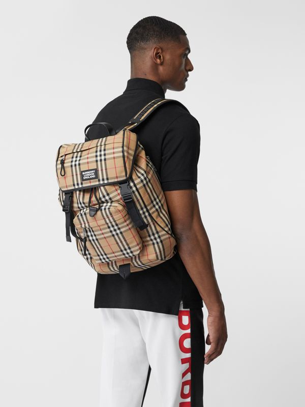 Logo Detail Vintage Check Backpack in Archive Beige | Burberry United Kingdom - cell image 3