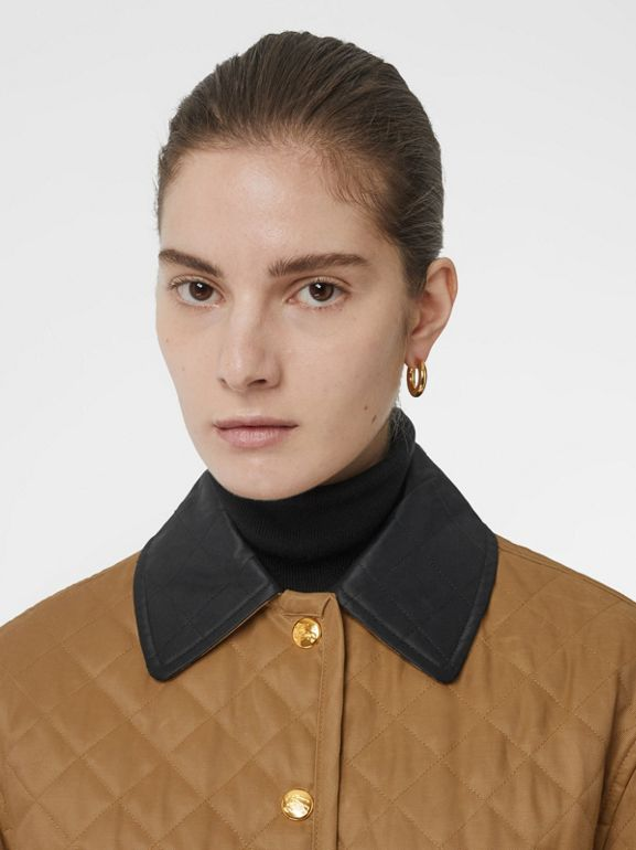 Diamond Quilted Barn Jacket in Camel - Women | Burberry - cell image 1