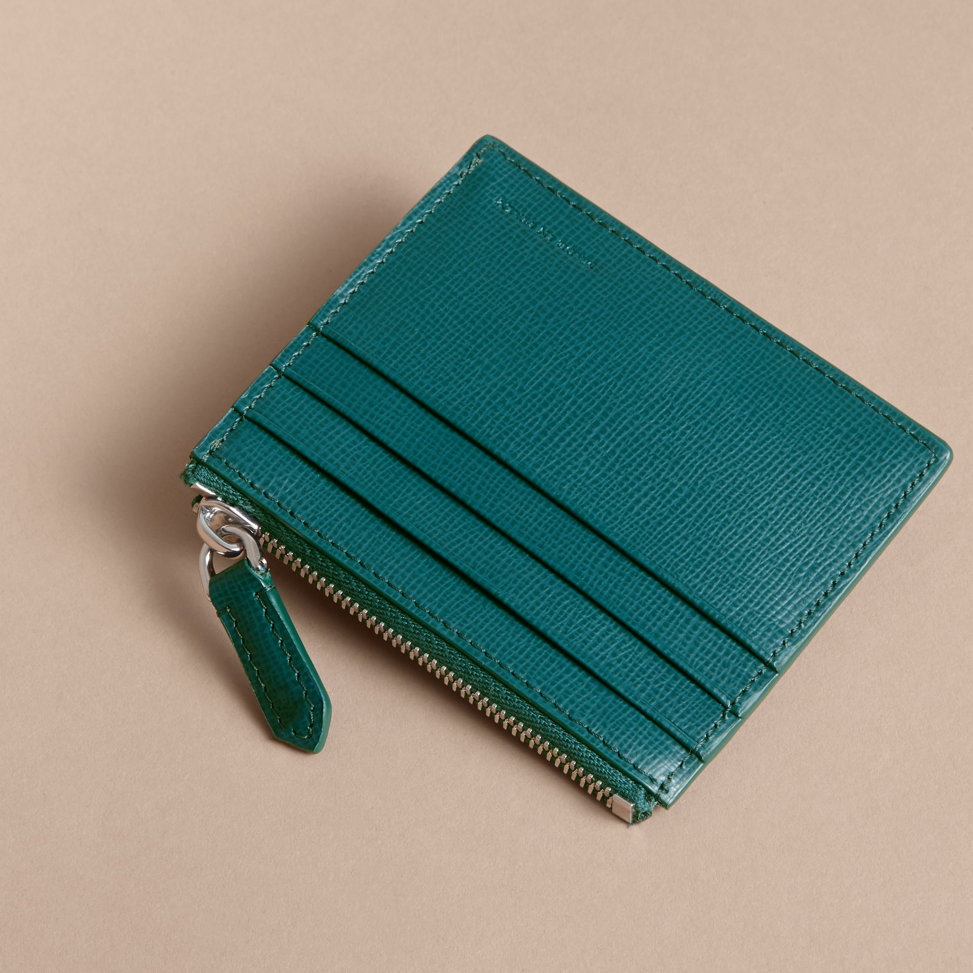 London Leather Zip-top Card Case in Dark Teal | Burberry Singapore - gallery image 3