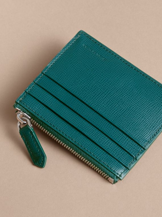 London Leather Zip-top Card Case in Dark Teal | Burberry Singapore - cell image 2