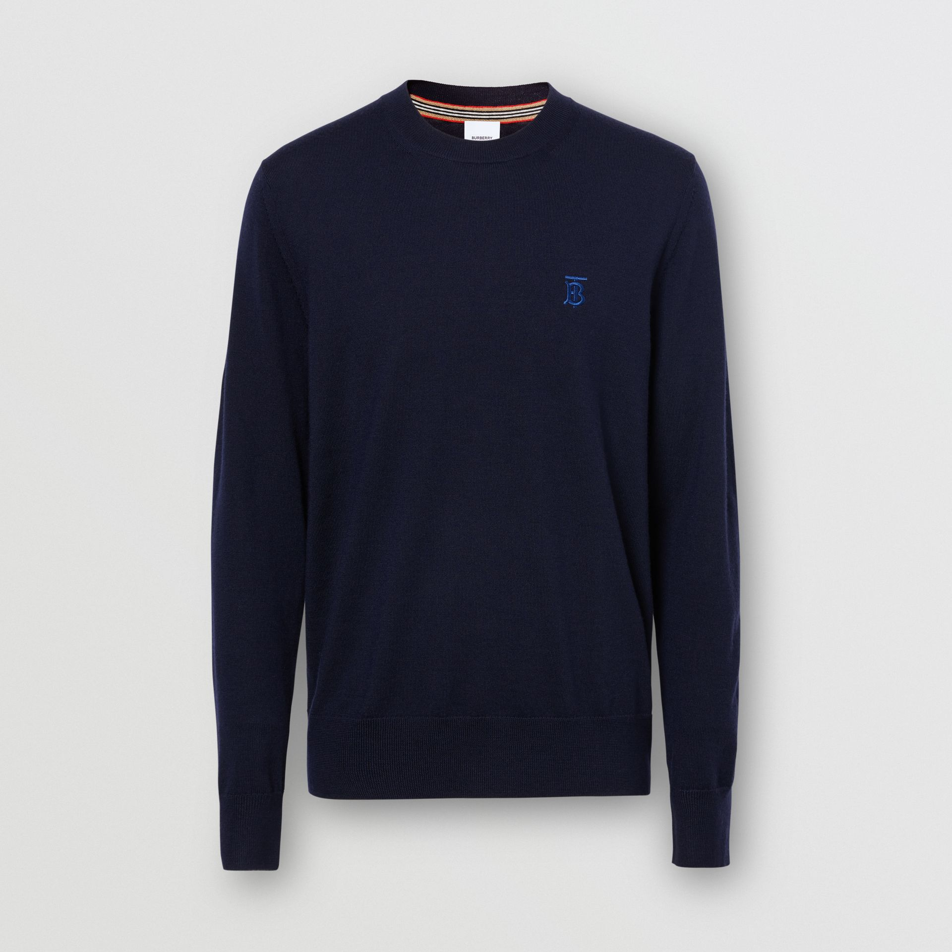 Monogram Motif Merino Wool Sweater in Navy - Men | Burberry - gallery image 3