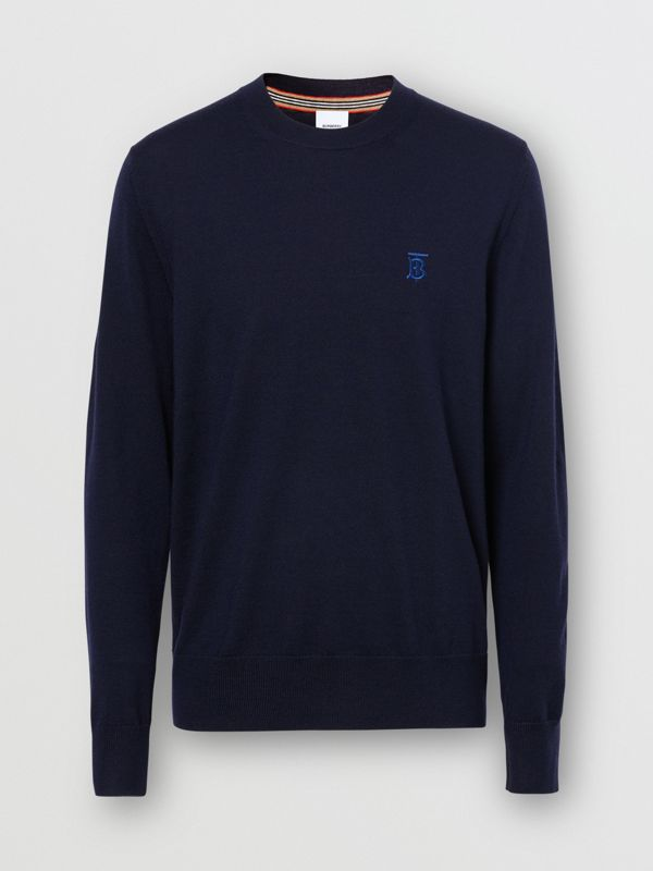 Monogram Motif Merino Wool Sweater in Navy - Men | Burberry - cell image 3