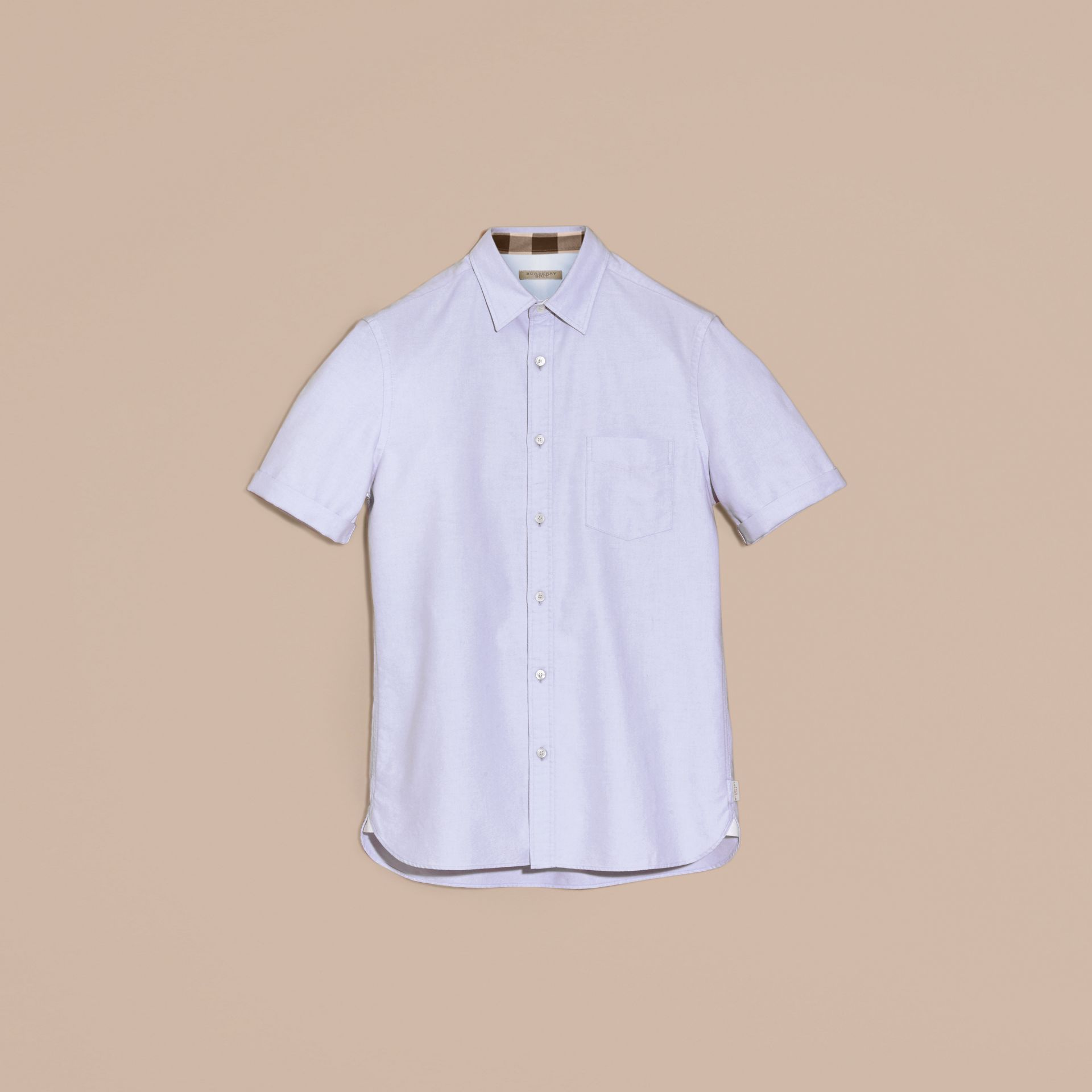 Check Detail Short-Sleeved Cotton Oxford Shirt Cornflower Blue - gallery image 3