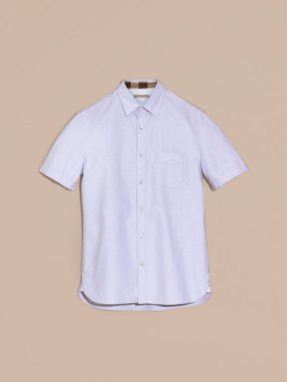 Check Detail Short-Sleeved Cotton Oxford Shirt Cornflower Blue - cell image 2