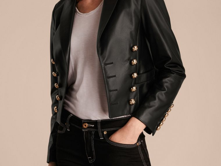 Black Cropped Lambskin Military Jacket - cell image 4