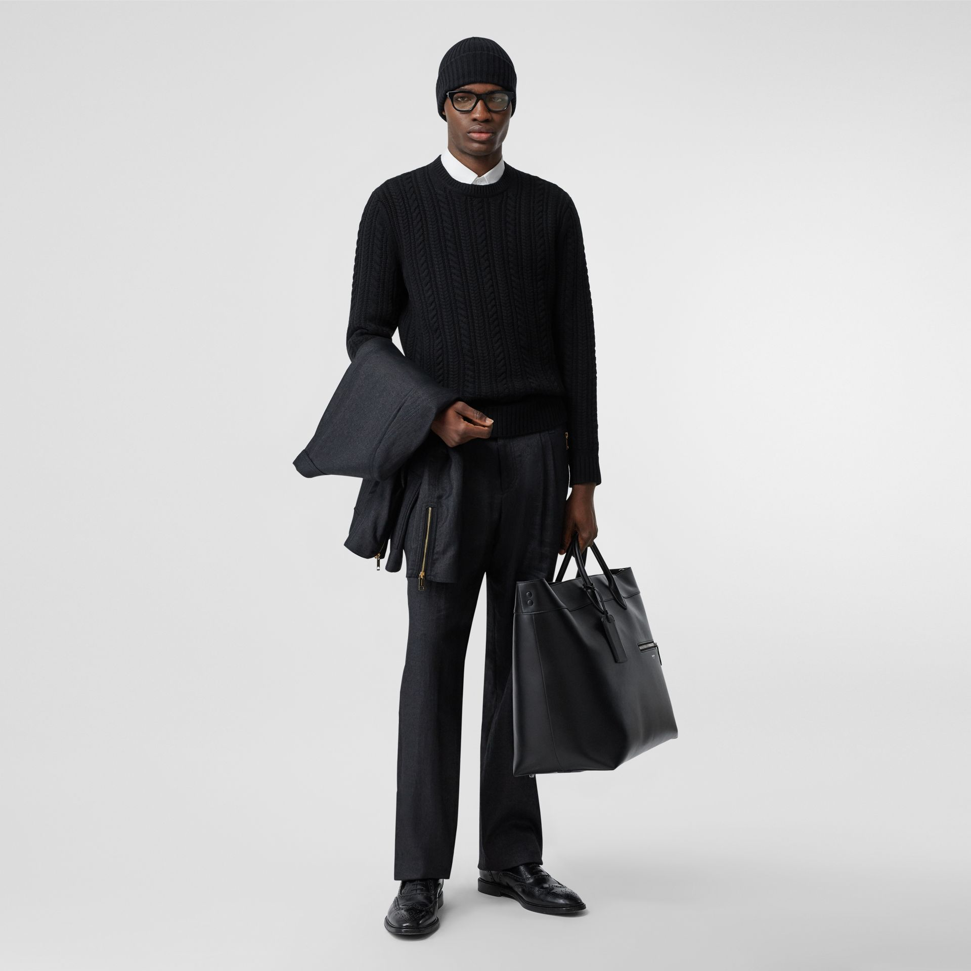 Cable Knit Cashmere Sweater in Black - Men | Burberry - gallery image 0