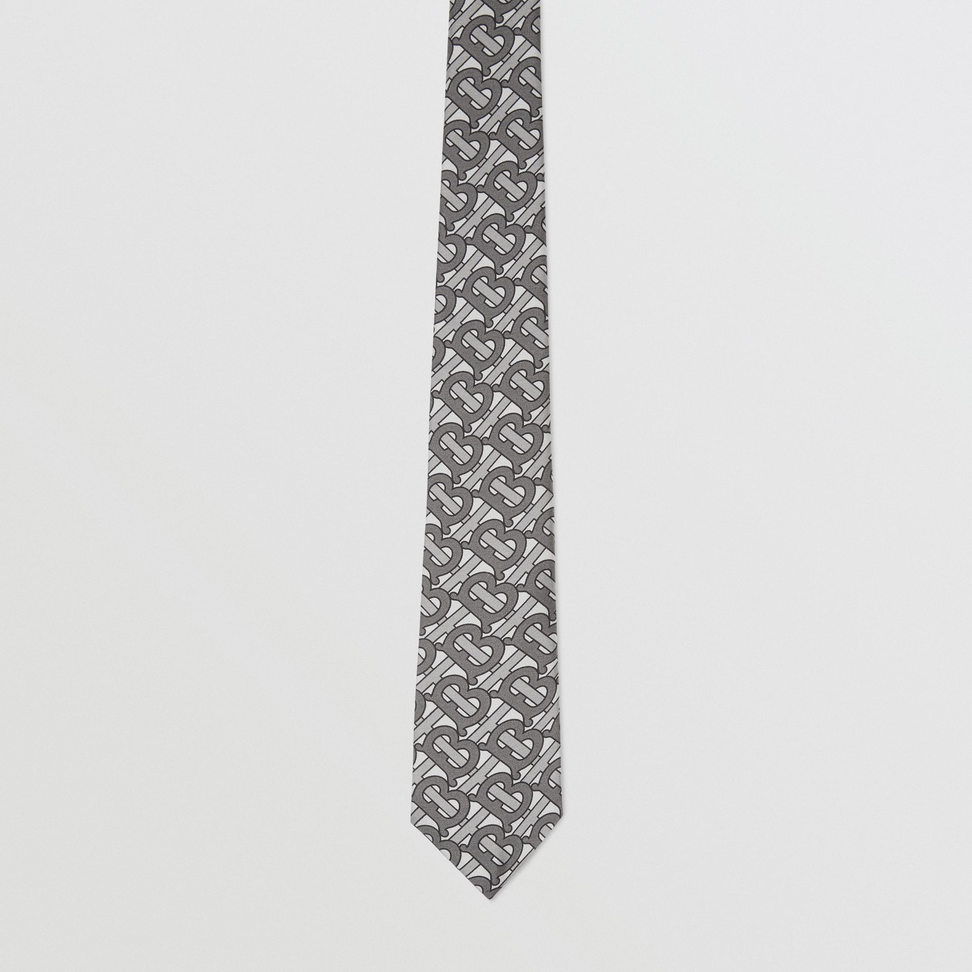 Classic Cut Monogram Print Silk Tie in Mid Grey - Men | Burberry United Kingdom - gallery image 3