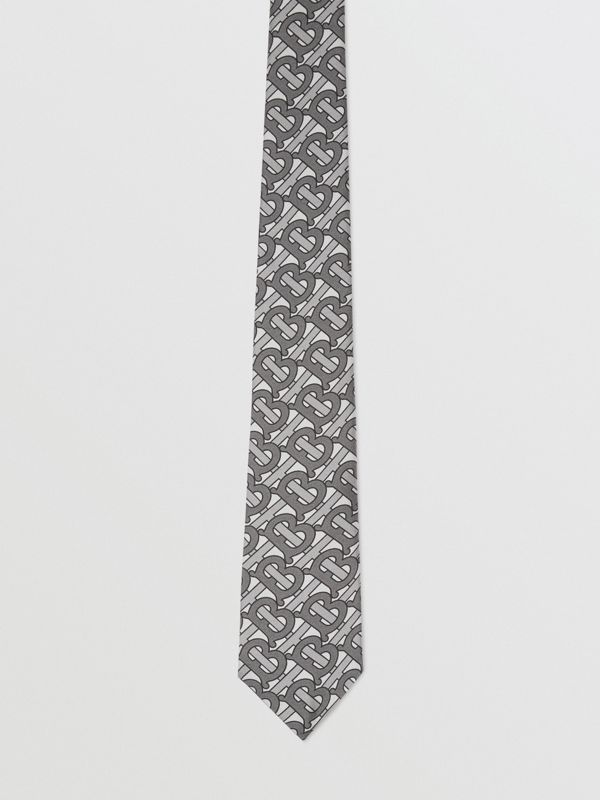 Classic Cut Monogram Print Silk Tie in Mid Grey - Men | Burberry United Kingdom - cell image 3