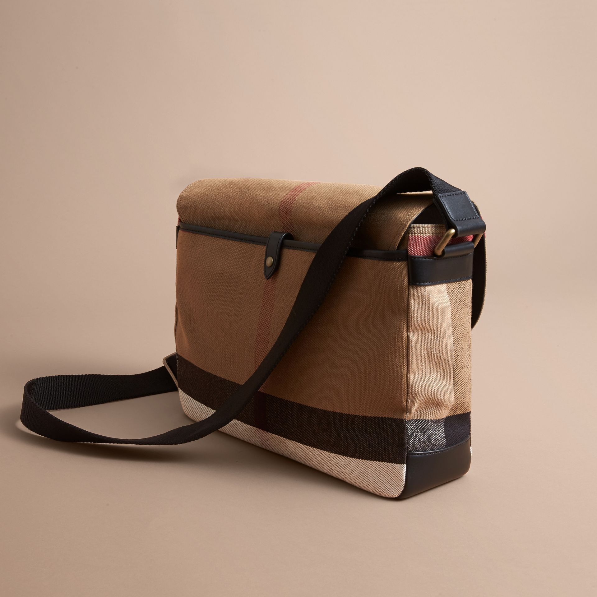 Large Leather Trim Canvas Check Messenger Bag in Black - Men | Burberry - gallery image 3