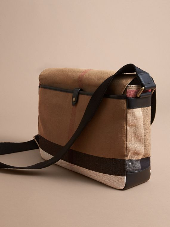 Large Leather Trim Canvas Check Messenger Bag in Black - Men | Burberry Singapore - cell image 3