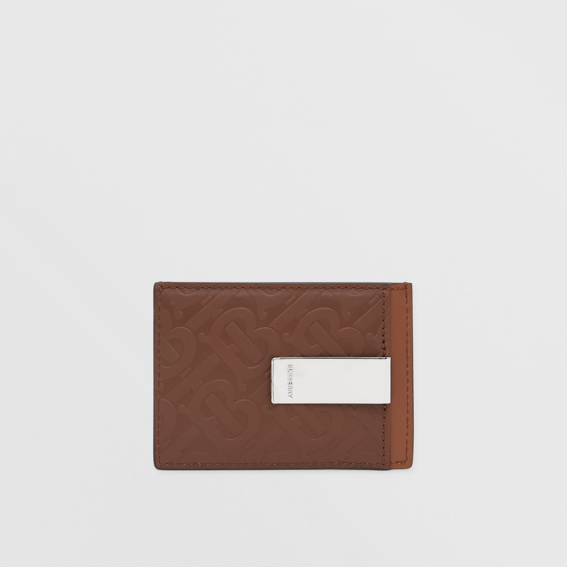 Monogram Leather Money Clip Card Case in Dark Tan - Men | Burberry United States - gallery image 4