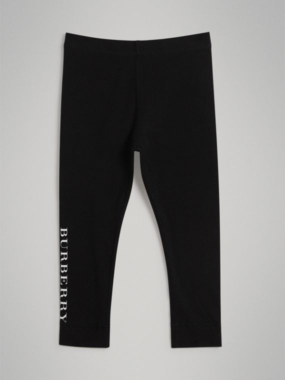 Logo Detail Stretch Cotton Leggings in Black