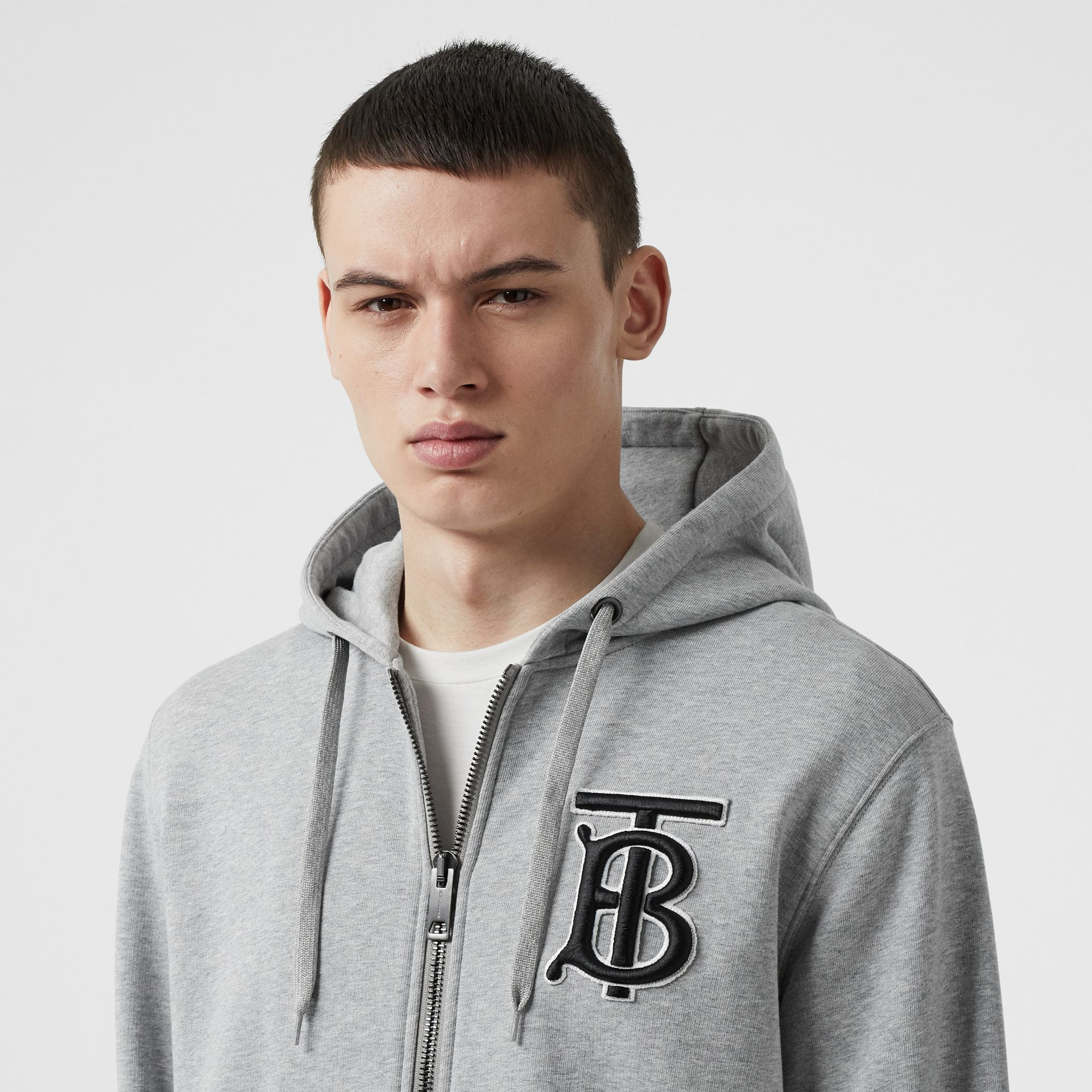 Monogram Motif Cotton Hooded Top in Pale Grey Melange - Men | Burberry - gallery image 1