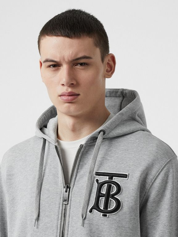 Monogram Motif Cotton Hooded Top in Pale Grey Melange - Men | Burberry - cell image 1