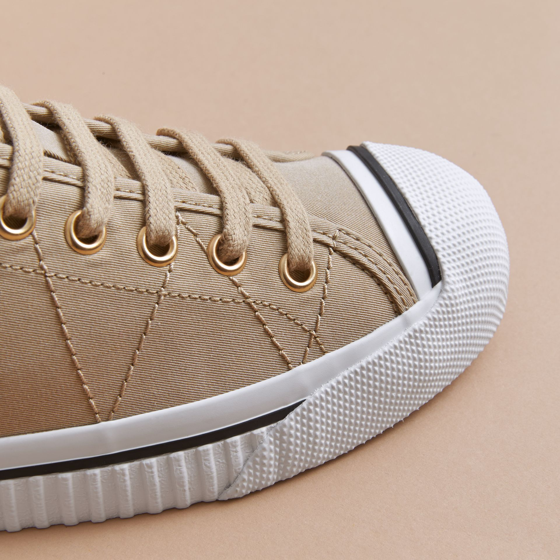Topstitched Cotton Gabardine Trainers in Honey - Women | Burberry - gallery image 2