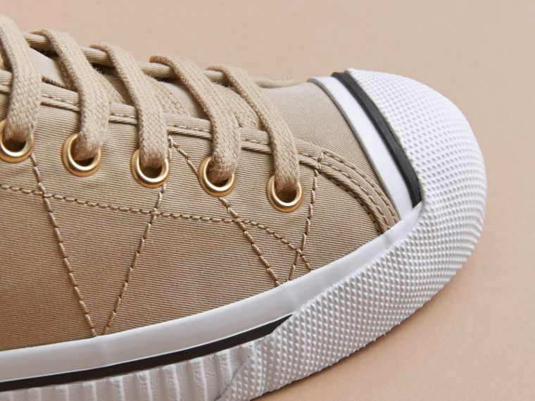 Topstitched Cotton Gabardine Trainers in Honey - Women | Burberry - cell image 1