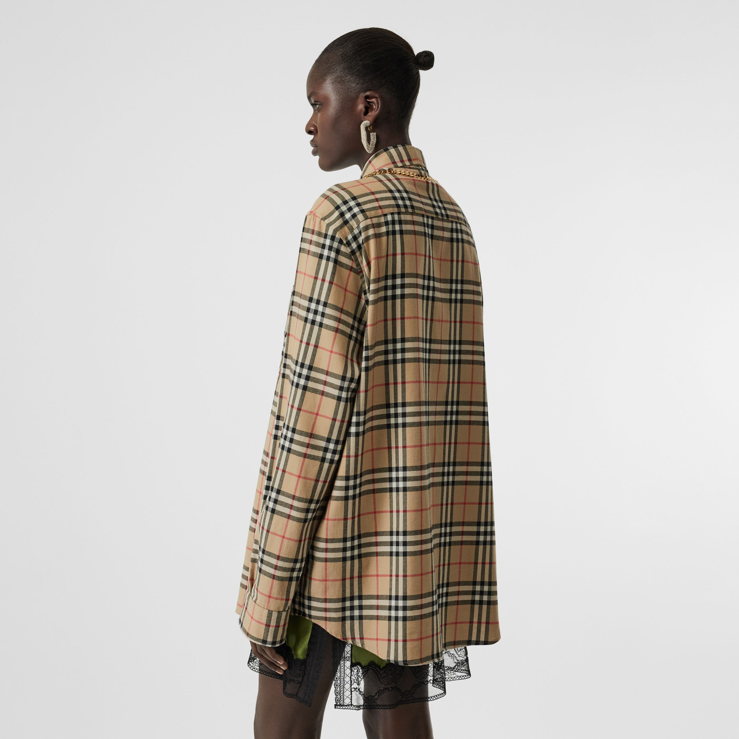Chain Detail Vintage Check Cotton Flannel Shirt in Archive Beige - Women | Burberry - 3