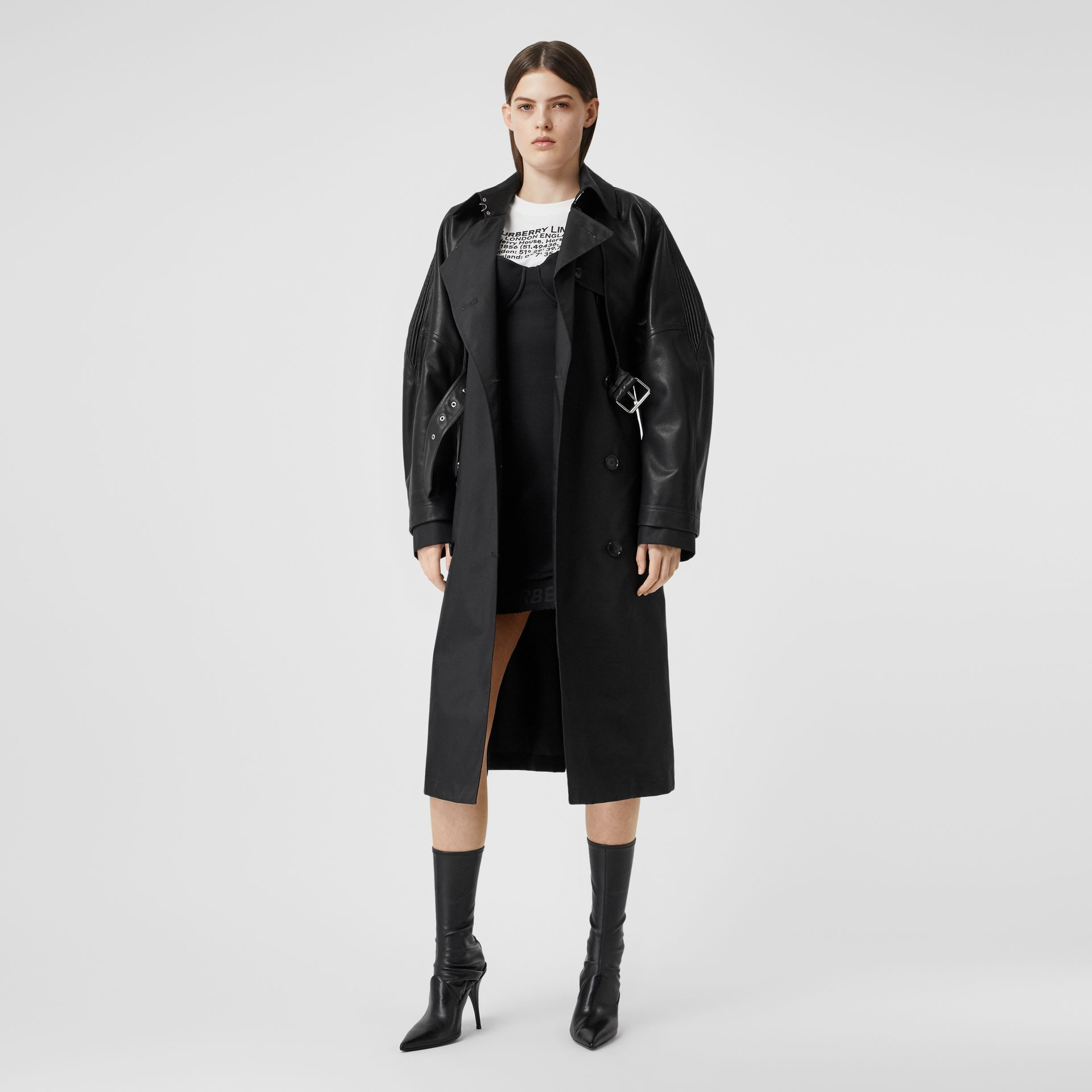 ECONYL® Trench Coat with Detachable Leather Jacket in Black - Women | Burberry Canada - gallery image 6