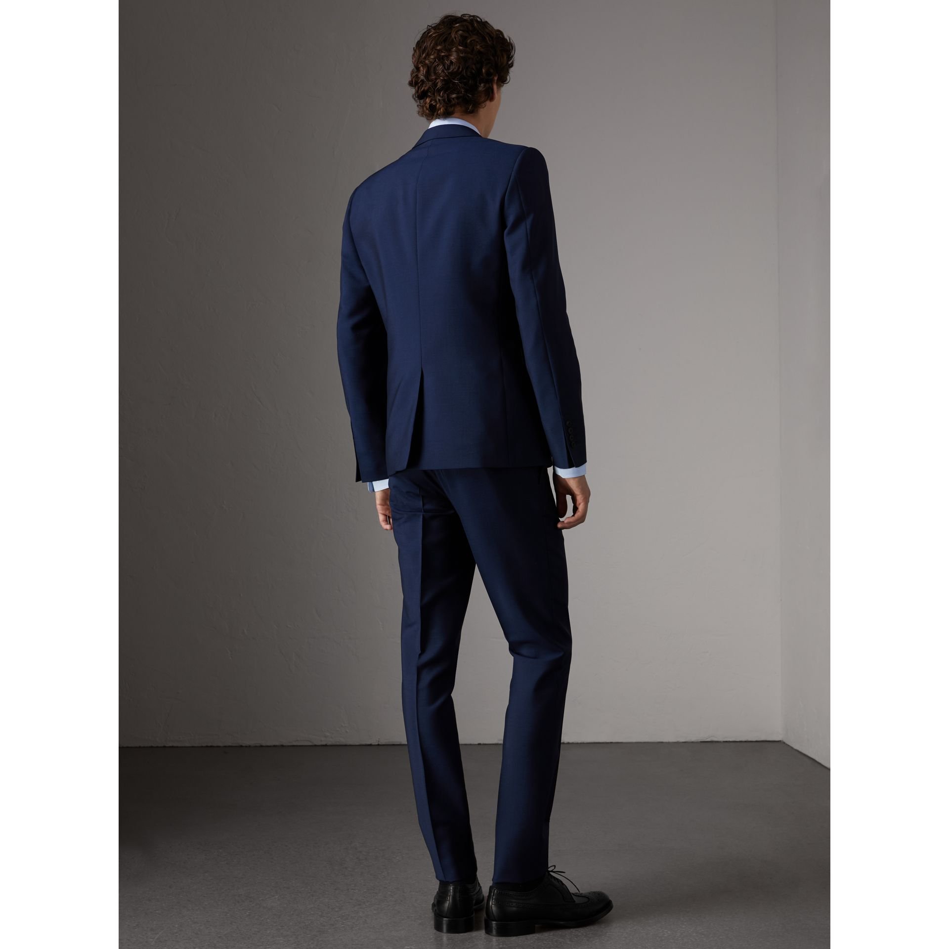 Slim Fit Wool Mohair Part-canvas Suit in Royal Navy - Men | Burberry - gallery image 1