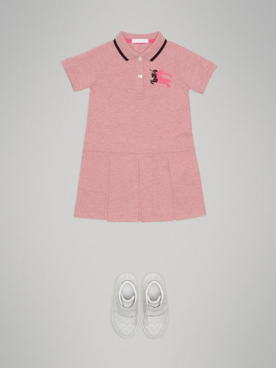 Tape Detail Polo Dress in Pale Pink Melange - Girl | Burberry - cell image 2