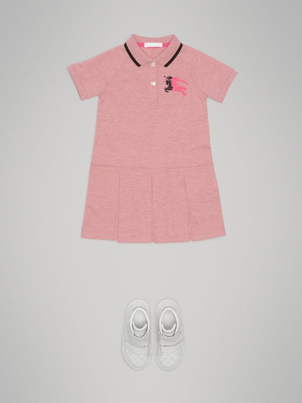 Tape Detail Polo Dress in Pale Pink Melange | Burberry Singapore - cell image 2