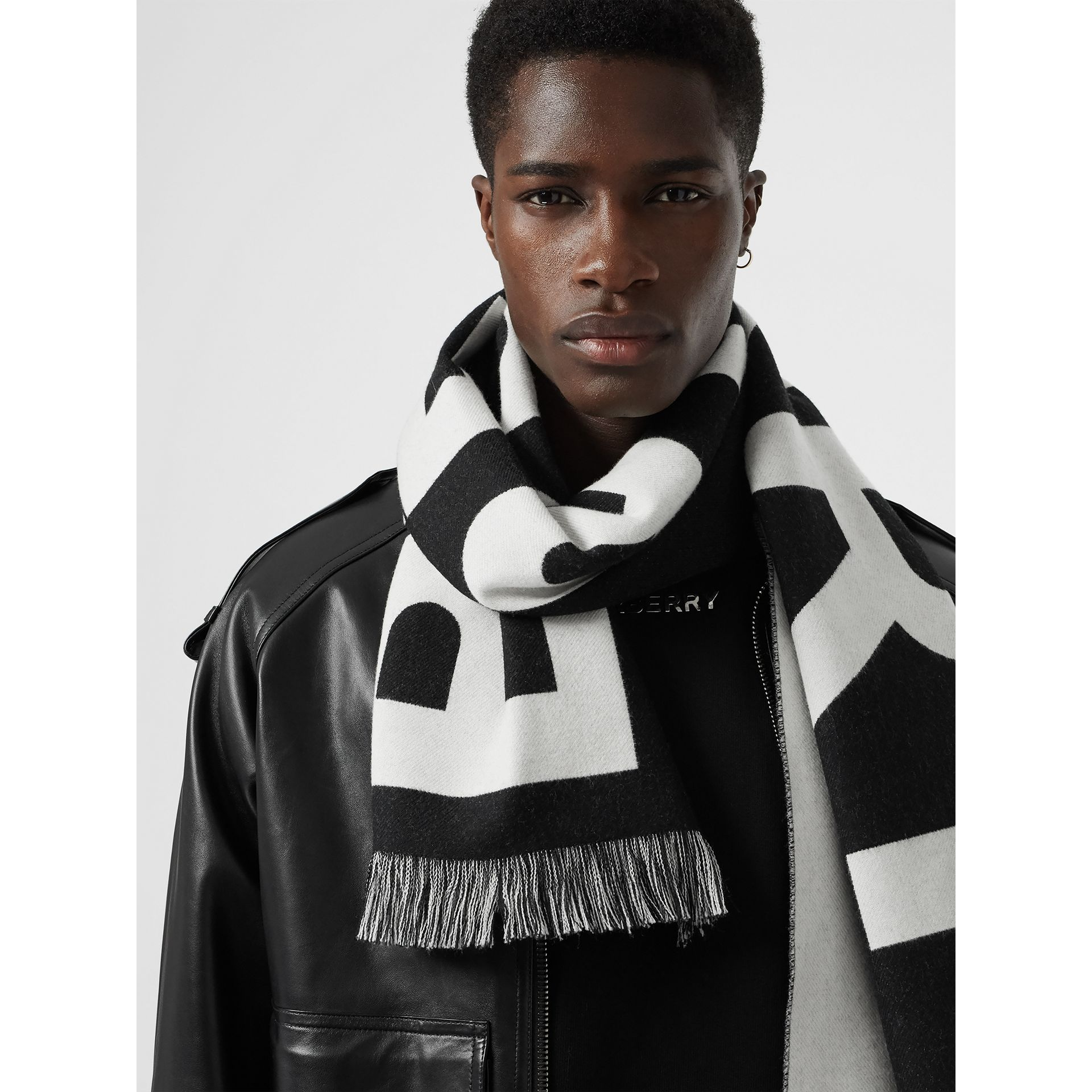 Logo Wool Scarf in Black/white | Burberry Canada - gallery image 6