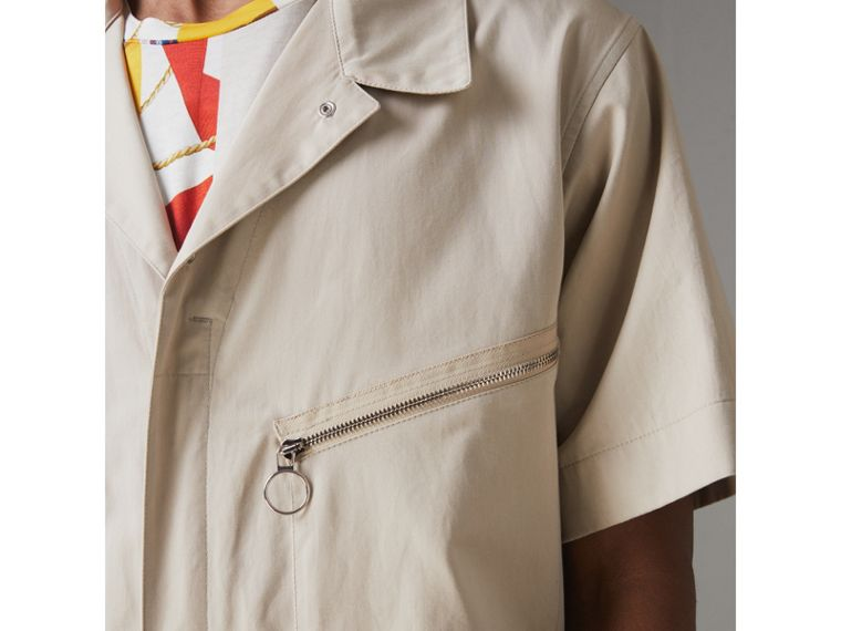 Short-sleeve Cotton Overalls in Stone - Men   Burberry United States - cell image 4
