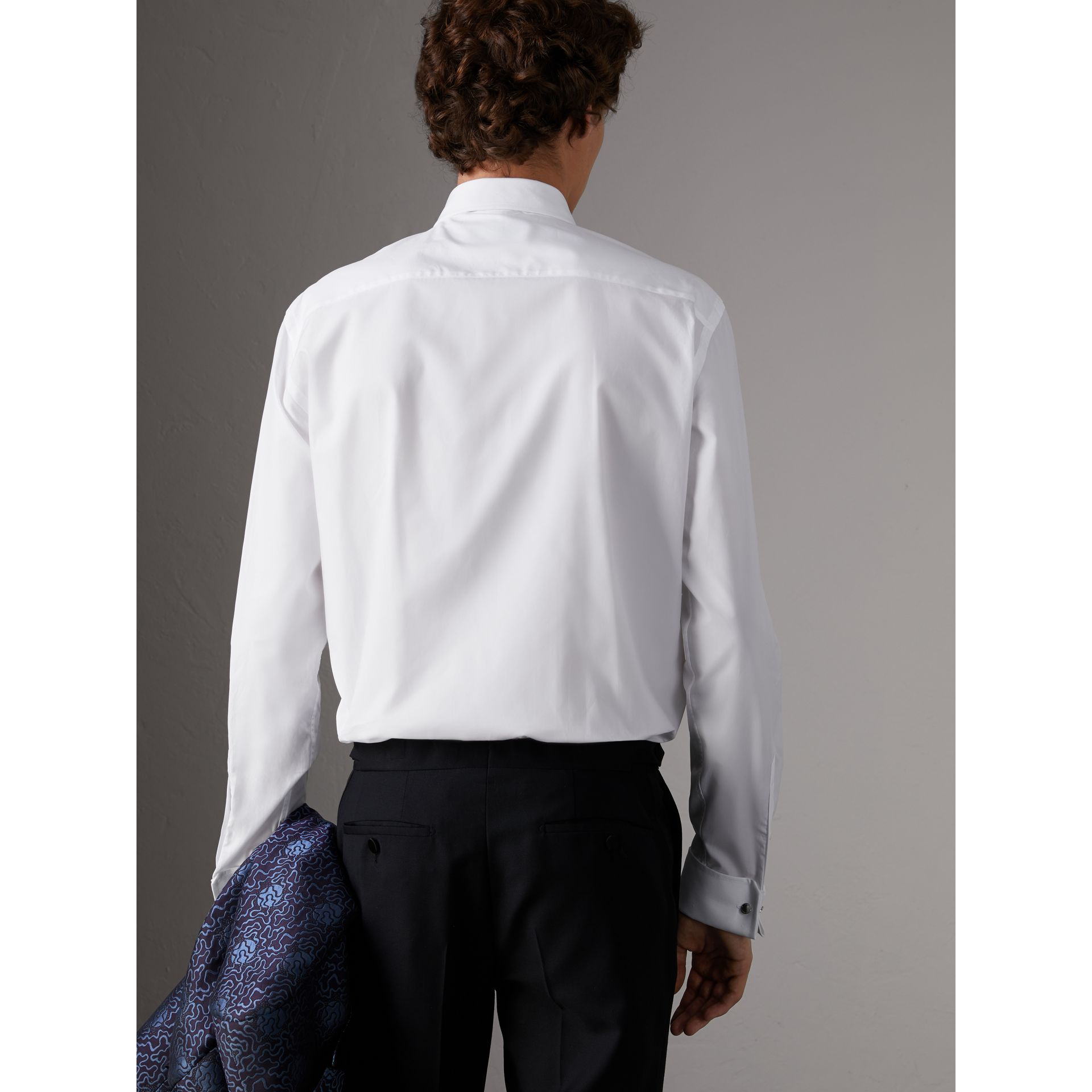 Modern Fit Pick-stitch Detail Bib Cotton Poplin Dress Shirt in White - Men | Burberry - gallery image 2
