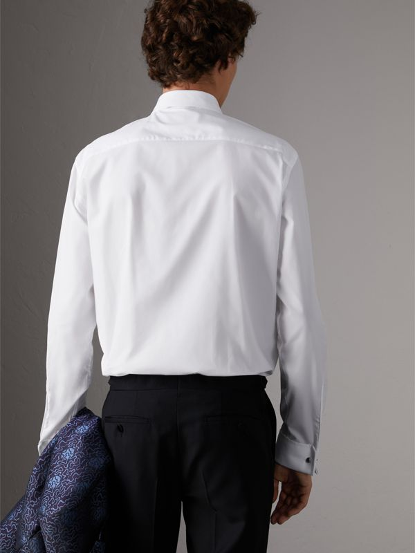 Modern Fit Pick-stitch Detail Bib Cotton Poplin Dress Shirt in White - Men | Burberry - cell image 2