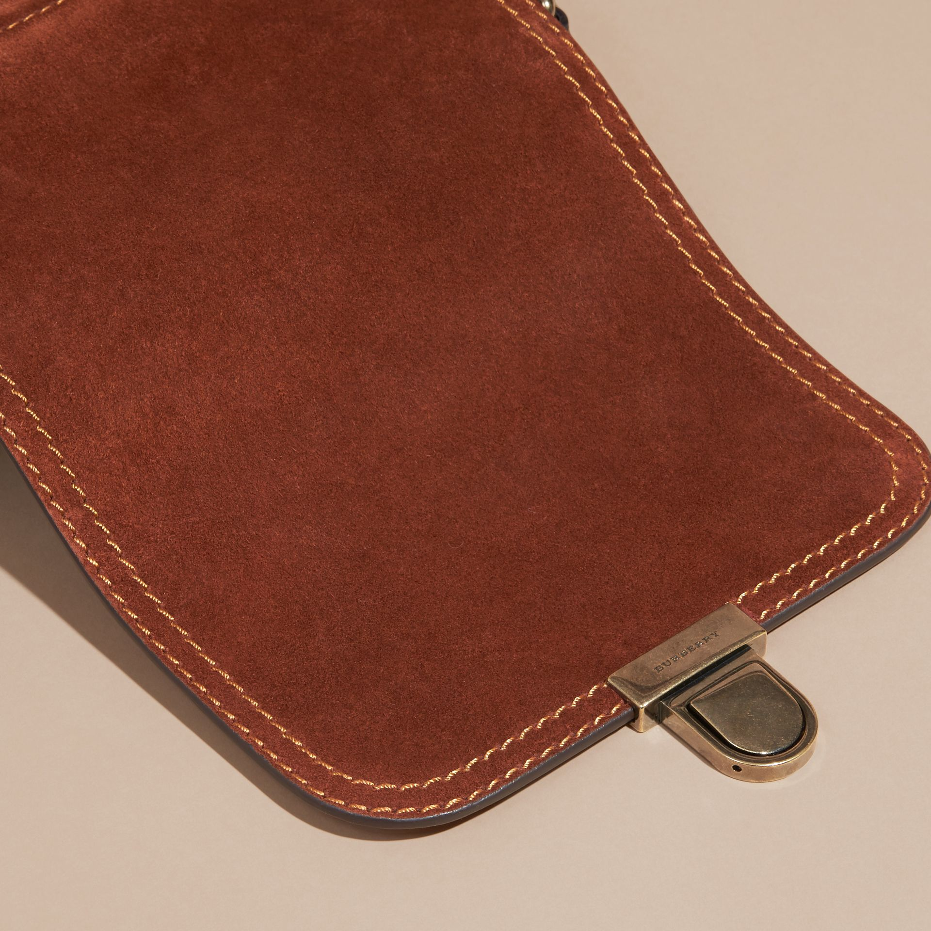 Russet brown The Small Satchel in English Suede and House Check Russet Brown - gallery image 2