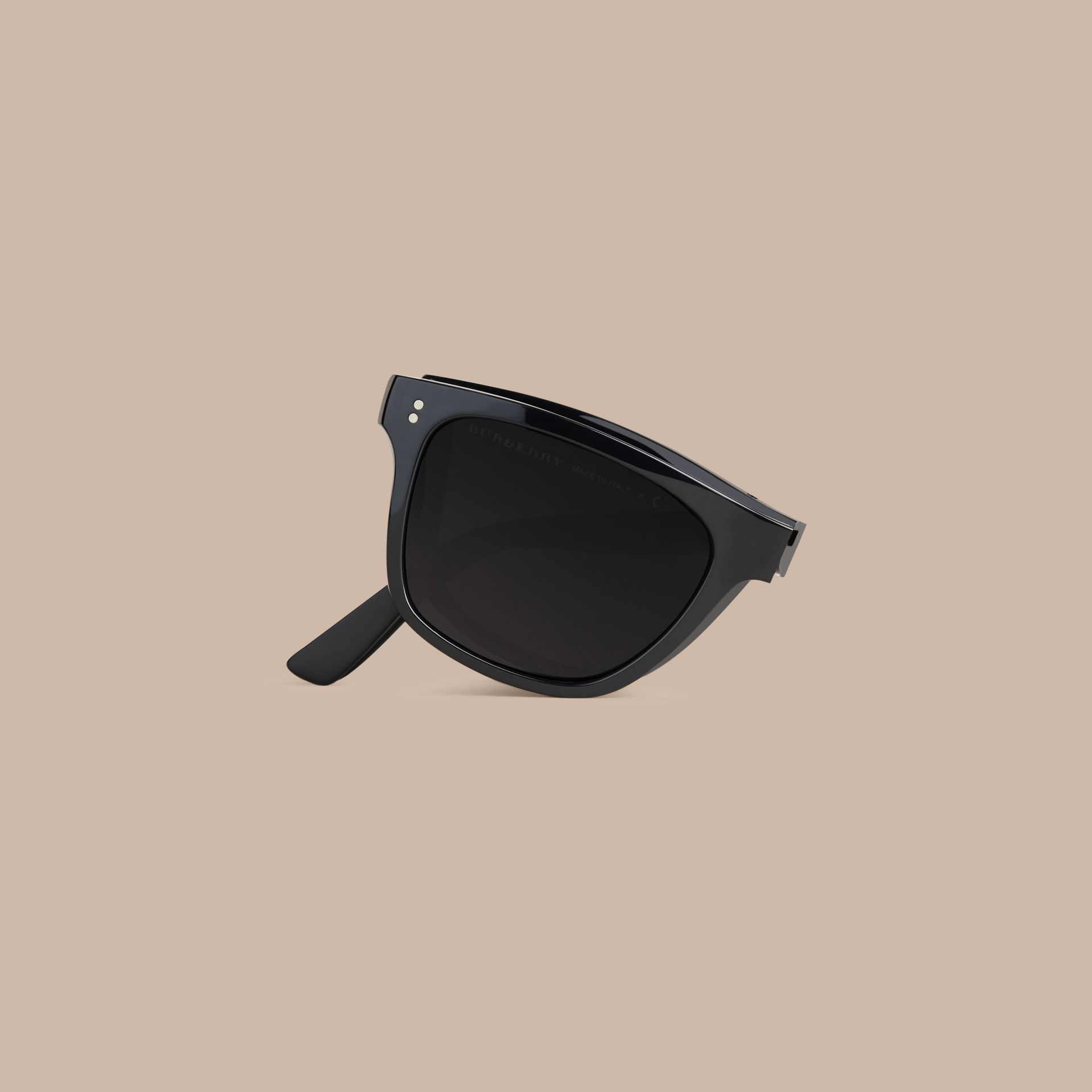 Folding Rectangular Frame Sunglasses in Black - Men | Burberry United Kingdom - gallery image 1
