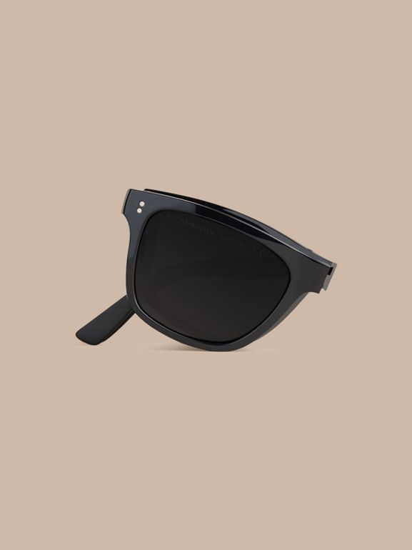 Folding Rectangular Frame Sunglasses in Black - Men | Burberry United Kingdom - cell image 1
