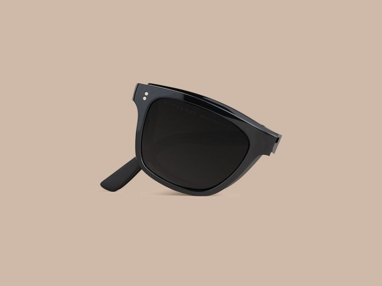 Black Folding Rectangular Frame Sunglasses Black - cell image 1