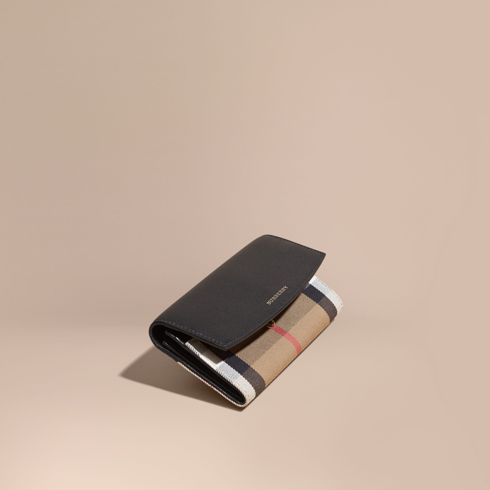 House Check And Leather Continental Wallet in Black - gallery image 1