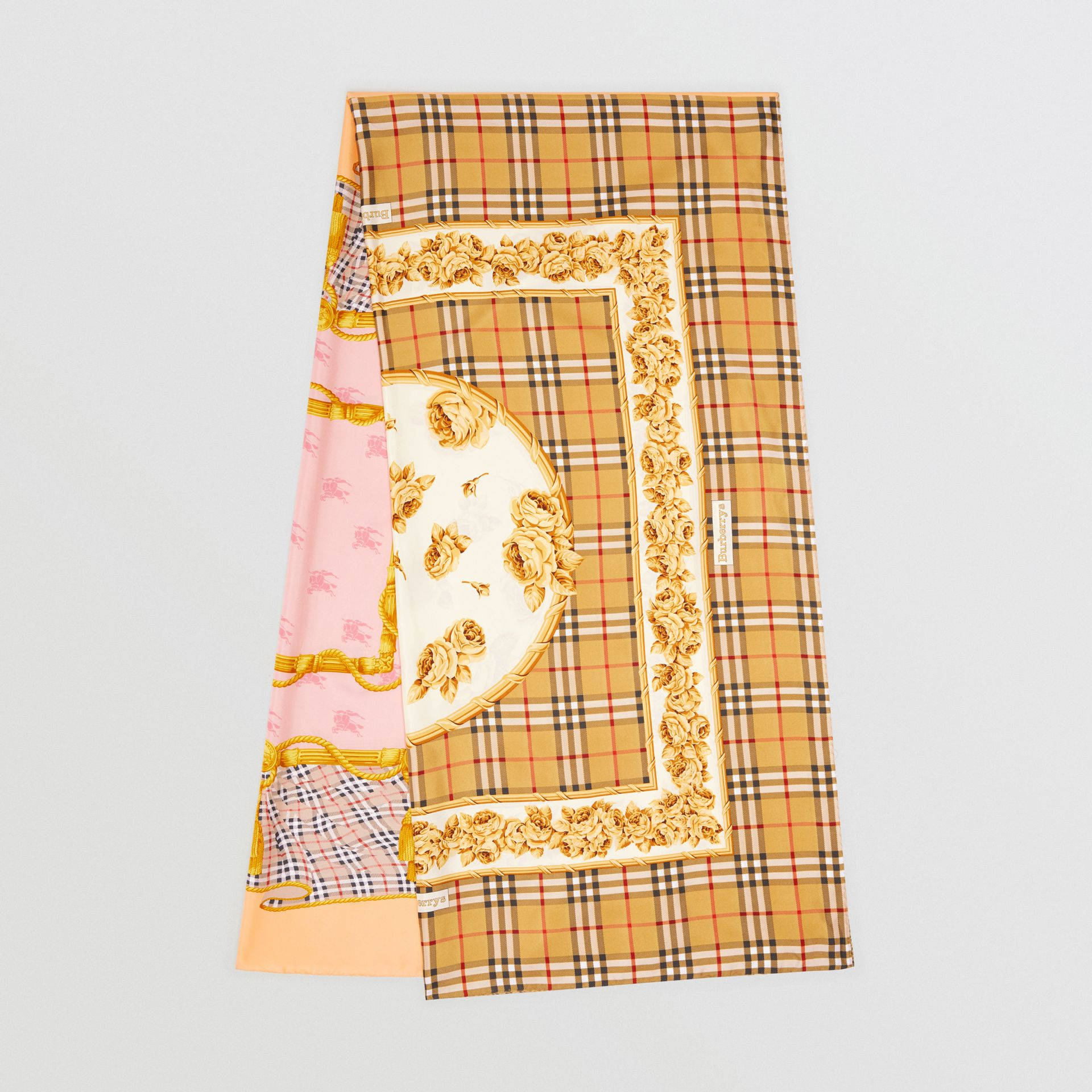 Archive Scarf Print Silk Scarf in Antique Yellow - Women | Burberry - gallery image 0