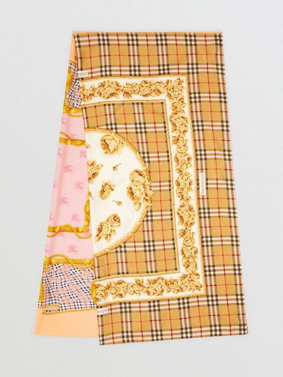 Archive Scarf Print Silk Scarf in Antique Yellow
