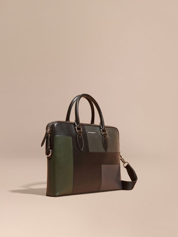 The Slim Barrow Bag in Patchwork London Leather Black