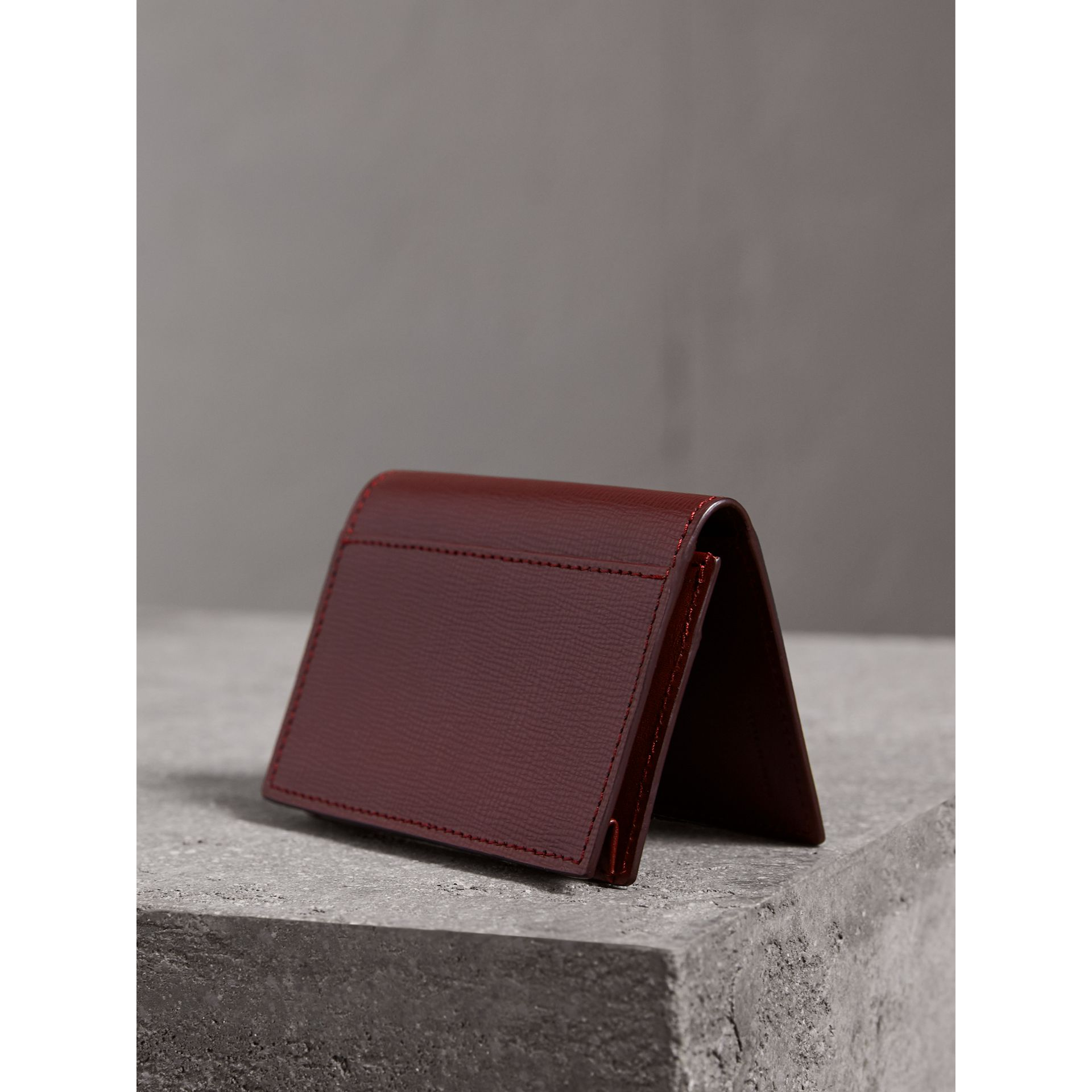 London Leather Folding Card Case in Burgundy Red | Burberry Canada - gallery image 2