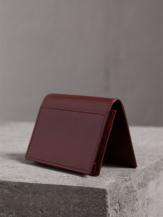 London Leather Folding Card Case in Burgundy Red - Men | Burberry - cell image 2