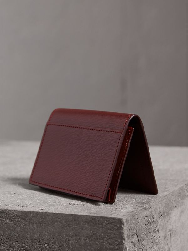 London Leather Folding Card Case in Burgundy Red | Burberry - cell image 2