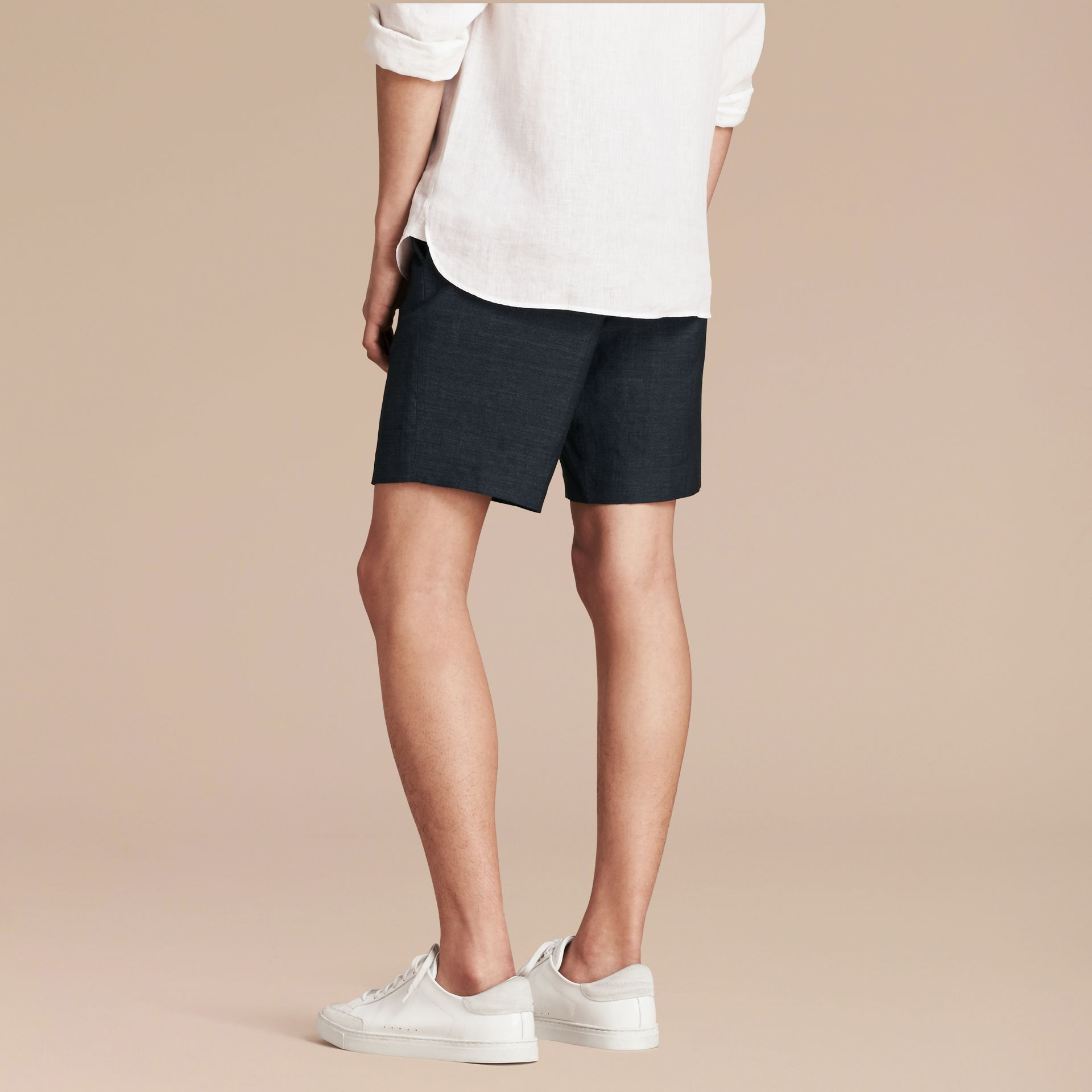 Navy Linen Cotton Tailored Shorts - gallery image 3