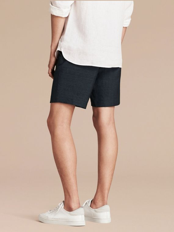 Navy Linen Cotton Tailored Shorts - cell image 2