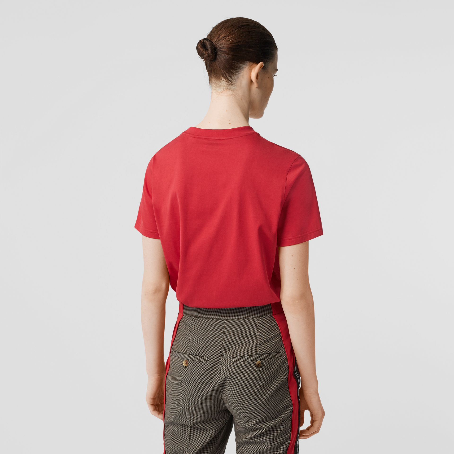 Logo Print Cotton T-shirt in Bright Red - Women | Burberry Hong Kong S.A.R - gallery image 2