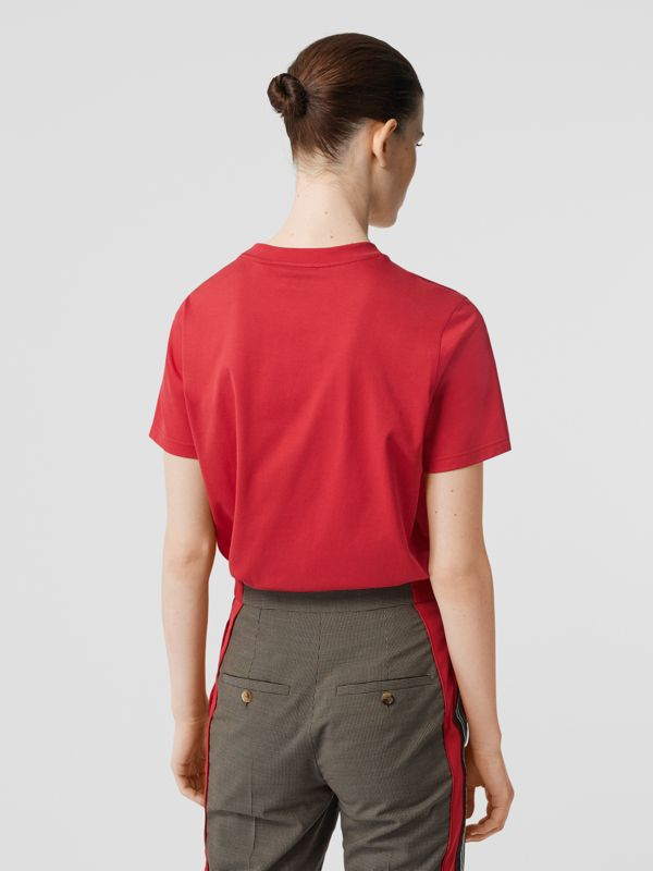 Logo Print Cotton T-shirt in Bright Red - Women | Burberry - cell image 2