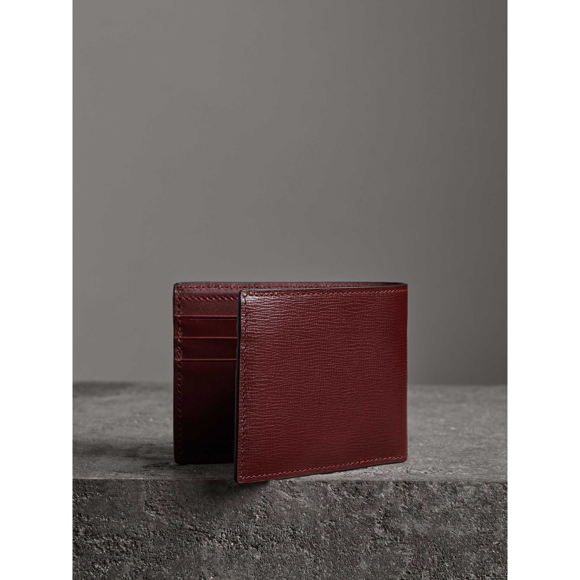 London Leather Bifold Wallet in Burgundy Red - Men | Burberry United States - gallery image 2